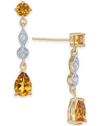 Macy's - Citrine (1-9/10 Ct. T.w.) & Diamond Accent Drop Earrings In 14k Gold - Lyst