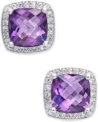 Macy's - Amethyst (1-3/4 Ct. T.w.) And Diamond (1/8 Ct. T.w.) Halo Stud Earrings In Sterling Silver - Lyst