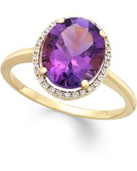 Macy's | Amethyst (3 Ct. T.w.) And Diamond (1/8 Ct. T.w.) Ring In 14k Gold | Lyst