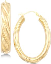 Signature Gold - Ribbed Hoop Earrings In 14k Gold Over Resin - Lyst