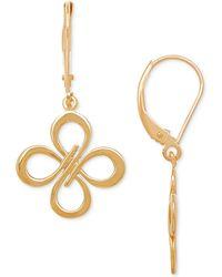 Macy's - Polished Openwork Flower Drop Earrings In 10k Gold - Lyst