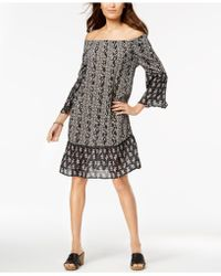 Style & Co. - Printed Off-the-shoulder Dress, Created For Macy's - Lyst