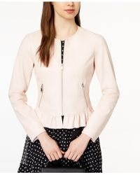 Maison Jules - Ruffled Faux-leather Jacket, Created For Macy's - Lyst