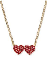 Kate Spade - Pavé Double-heart Pendant Necklace - Lyst