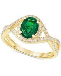 Macy's - Emerald (1-1/10 Ct. T.w.) & Diamond (1/3 Ct. T.w.) Ring In 14k Gold - Lyst