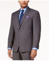 Sean John - Men's Classic-fit Stretch Gray/blue Birdseye Windowpane Suit Jacket - Lyst