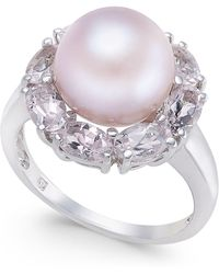 Macy's - Pink Cultured Freshwater Pearl (10mm) & Morganite (2 Ct. T.w.) Ring In Sterling Silver - Lyst