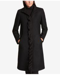 DKNY - Ruffle-trim Wool-blend Walker Coat - Lyst