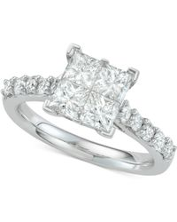 Macy's - Diamond Princess Engagement Ring (2 Ct. T.w.) In 14k White Gold - Lyst