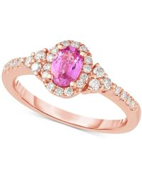 Macy's - Pink Sapphire (5/8 Ct. T.w.) & Diamond (1/3 Ct. T.w.) Ring In 14k Rose Gold - Lyst