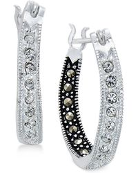 Macy's - Marcasite & Crystal Inside Out Hoop Earrings In Silver-plate - Lyst