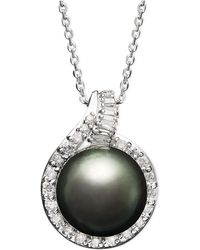 Macy's - 14k White Gold Necklace, Cultured Tahitian Pearl (12mm) And Diamond (1/2 Ct. T.w.) Pendant - Lyst
