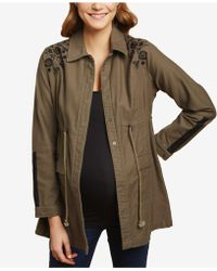 Jessica Simpson - Maternity Cotton Twill Embroidered Jacket - Lyst