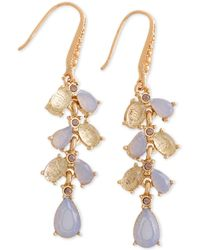 Laundry by Shelli Segal - Gold-tone Stone & Textured Bead Linear Drop Earrings - Lyst