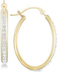 Signature Gold - Tm Diamond Accent Swarovski Crystal Hoop Earrings In 14k Gold Over Resin - Lyst