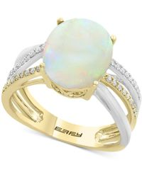 Effy Collection | Opal (2-1/2 Ct. T.w.) & Diamond (1/8 Ct. T.w.) Two-tone Ring In 14k Gold And White Gold | Lyst