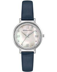 BCBGMAXAZRIA - Bcbg Maxazria Ladies Blue Leather Strap Watch With Light Mop Dial, 33mm - Lyst