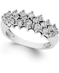 Macy's - Diamond Pyramid Ring (1/5 Ct. T.w.) In Sterling Silver - Lyst