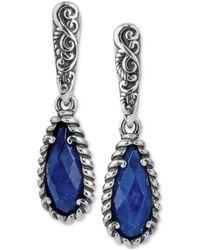 Carolyn Pollack - Lapis Lazuli/rock Quartz Drop Earrings (4-7/8 Ct. T.w.) In Sterling Silver - Lyst