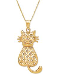 Macy's | Textured Backwards Kitty Cat Pendant Necklace In 14k Gold | Lyst