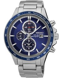 Seiko - Solar Chronograph Stainless Steel Bracelet Watch 42.8mm - Lyst