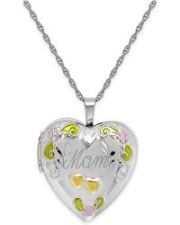 Macy's - Mom Painted Heart Locket In Sterling Silver - Lyst