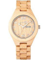 Earth Wood - Sapwood Wood Bracelet Watch W/date Khaki 41mm - Lyst