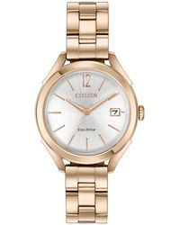 Citizen - Women's Rose Gold-tone Stainless Steel Bracelet Watch 34mm - Lyst