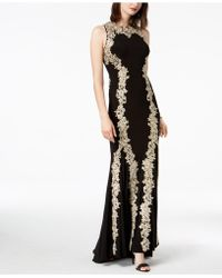 Betsy & Adam - Metallic Embroidered Mermaid Gown - Lyst