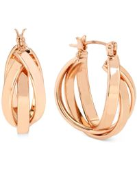 Hint Of Gold - Triple Hoop Earrings In Rose Gold-plating - Lyst