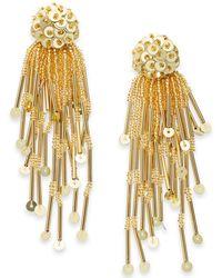Kate Spade - Gold-tone Sequin & Bead Tassel Drop Earrings - Lyst
