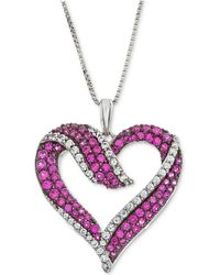 Macy's - Lab-created Ruby (5/8 Ct. T.w.) & White Sapphire (1/3 Ct. T.w.) Heart Pendant Necklace In Sterling Silver - Lyst