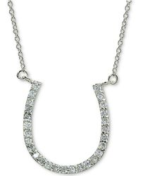 """Giani Bernini - Cubic Zirconia Horseshoe Pendant Necklace In Sterling Silver, 16"""" + 2"""" Extender, Created For Macy's - Lyst"""