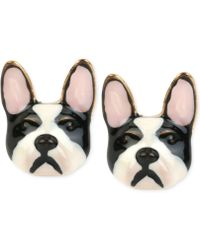 Betsey Johnson - Gold-tone Bulldog Earrings - Lyst
