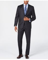 Michael Kors - Classic/regular Fit Natural Stretch Charcoal Windowpane Check Wool Suit - Lyst