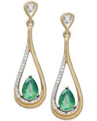 Macy's | 14k Gold Earrings, Emerald (3/4 Ct. T.w.) And Diamond (1/10 Ct. T.w.) Pear-shaped Drop Earrings | Lyst
