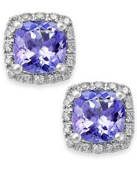 Macy's - Tanzanite (1-5/8 Ct. T.w.) And Diamond (1/8 Ct. T.w.) Square Stud Earrings In 14k White Gold - Lyst