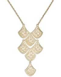 Macy's - Diamond-cut Mesh Linked Frontal Necklace In 14k Gold - Lyst