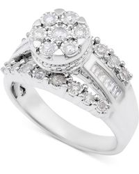 Macy's - Diamond Dome Cluster Promise Ring (1/2 Ct. T.w.) In Sterling Silver - Lyst