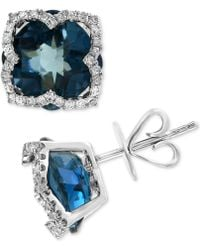 Effy Collection - Effy® London Blue Topaz (8-1/5 Ct. T.w.) & Diamond (1/3 Ct. T.w.) Stud Earrings In 14k White Gold - Lyst