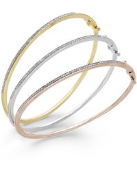 Macy's - Diamond Bangle Bracelet Trio In 14k Gold Over Sterling Silver And Sterling Silver (1/4 Ct. T.w.) - Lyst