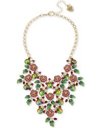 "Betsey Johnson - Gold-tone Multi-stone Rose Statement Necklace, 16"" + 3"" Extender - Lyst"