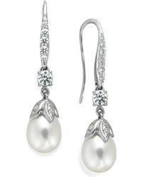 Arabella - Cultured Freshwater Pearl (8mm) And Swarovski Zirconia (1-5/8 Ct. T.w.) Leaf Drop Earrings In Sterling Silver - Lyst