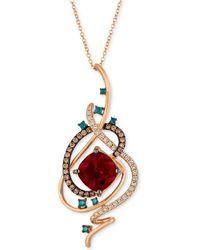 "Le Vian - Exotics® Crazy Collection® Pomegranate Garnettm (4-1/2 Ct. T.w.) & Diamond (3/4 Ct. T.w.) 18"" Pendant Necklace In 14k Rose Gold - Lyst"