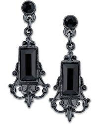2028 - Black-tone Black Rectangle Crystal Drop Earrings - Lyst