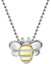 """Alex Woo - Bumble Bee 16"""" Pendant Necklace In Sterling Silver & 18k Gold - Lyst"""