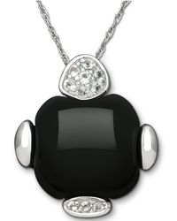 Macy's - Sterling Silver Necklace, Onyx (15 Ct. T.w.) And White Topaz (1/8 Ct. T.w.) Pendant - Lyst
