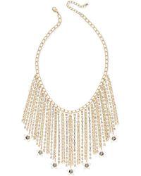 INC International Concepts - Gold-tone Hematite Stone Fringe Statement Necklace - Lyst