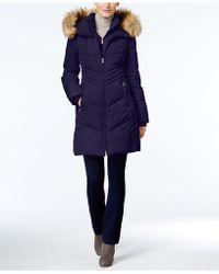 Jones New York   Faux-fur-trim Hooded Puffer Coat   Lyst