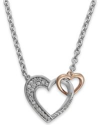 Macy's - Diamond Double Heart Pendant In Sterling Silver And 14k Rose Gold (1/5 Ct. T.w.) - Lyst
